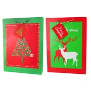 Assorted Christmas Gift Bag (Trees/Reindeers) Medium Pk 2