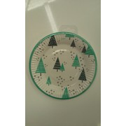 Teal Christmas Trees 18cm Paper Plates Pk 8