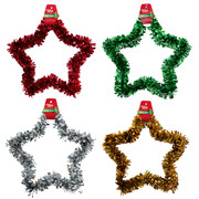 Assorted Tinsel Star Decorations 30cm Pk 4