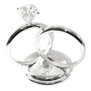 Silver Double Ring Cake Topper with Diamante (Boxed) Pk 1