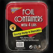Foil Containers Heavy Duty With Lids 3.23L 335x320mm Pk4