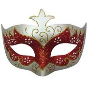 Classic Red Glitter Party Mask Pk1