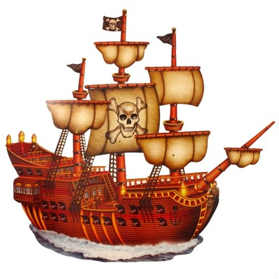 Scene Cutout Pirate Ship Jointed 31in Pk1