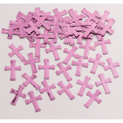 Embossed Pink Crosses Confetti (14g) Pk 1