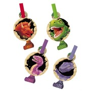 Dinosaur Party Blowouts with Medallion - Dino Blast Pk8 (Assorted Designs)