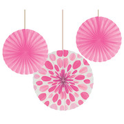 Assorted Size/Design Candy Bright Pink Paper Fans Pk 3