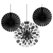 Assorted Size/Design Black Paper Fans Pk 3