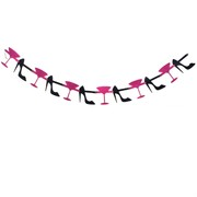 Party Decoration - Martini & Heels Jointed Garland Glitter Pk1