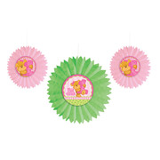 1st Birthday Girl Tissue Fan Decorations Pk 3