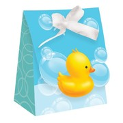 Bubble Bath Duck Favour Bags with Ribbon Pk 12