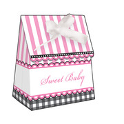 Sweet Baby Feet Pink Favour Boxes With Ribbon Pk 12