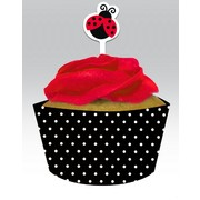 Ladybug Party Cupcake Wrappers - Ladybug Fancy Pk 12 (12 Wraps & 12 Toppers)