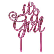 It's A Girl Pink Plastic Baby Shower Cake Topper Decoration Pk 1