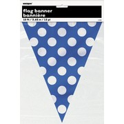 Royal Blue & White Polka Dot Flag Banner (3.6m) Pk 1