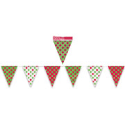 Red & Green Dots Flag Banner (3.65m) Pk 1