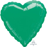 Metallic Green Heart 17in. Standard Foil Balloon Pk 1