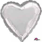 Metallic Silver Heart 17in. Standard Foil Balloon Pk 1