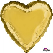 Metallic Gold Heart 17in. Standard Foil Balloon Pk 1
