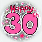 30th Giant Birthday Party Badge Large Pk 1