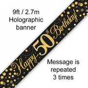 50th Birthday Black & Gold Sparkling Fizz Foil Banner 2.7m Pk 1