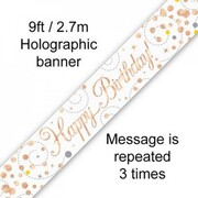 Happy Birthday Rose Gold Sparkling Fizz Foil Banner 2.7m Pk 1