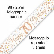 70th Birthday Rose Gold Sparkling Fizz Foil Banner 2.7m Pk 1