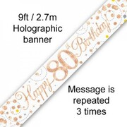 80th Birthday Rose Gold Sparkling Fizz Foil Banner 2.7m Pk 1