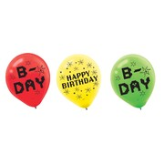 TNT Birthday Party Assorted Design 30cm Latex Balloons Pk 6