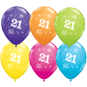 Assorted Colour All Over Print 21 Latex Balloons Pk 10