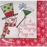 Christmas Naughty Snowman 2 Ply Cocktail Napkins Pk 16