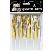 Gold & Silver New Year Squawkers Pk 8