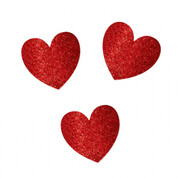 Assorted Size Red Glitter Heart Cutouts Pk 20