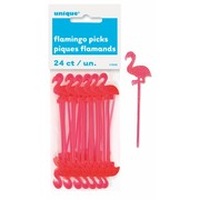 Hawaiian Luau Pink Flamingo Plastic Picks (7.5cm) Pk 24