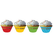 Diecut Birthday Stripes Cupcake Wraps Pk 12 (Assorted Colours)
