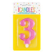 Metallic Pink Numeral Number #3 Cake Candle Pk 1