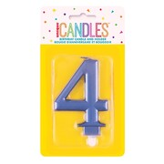 Metallic Blue Numeral Number #4 Cake Candle Pk 1