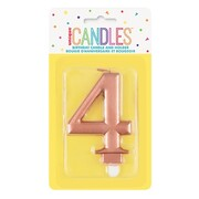 Metallic Rose Gold Numeral Number #4 Cake Candle Pk 1