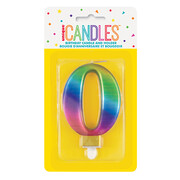 Metallic Rainbow Numeral Number #0 Cake Candle Pk 1