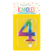Metallic Rainbow Numeral Number #4 Cake Candle Pk 1