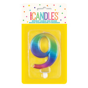 Metallic Rainbow Numeral Number #9 Cake Candle Pk 1