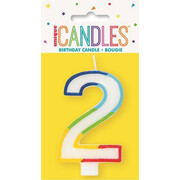 Number 2 Rainbow Birthday Cake Candle Pk 1