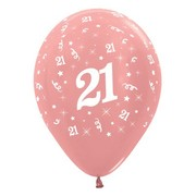 Metallic Rose Gold 21 AOP 12in. Latex Balloons Pk 6