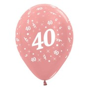 Metallic Rose Gold 40 AOP 12in. Latex Balloons Pk 6