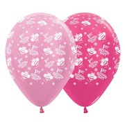 1st Birthday Girl Pinks 12in. Latex Balloons Pk 6