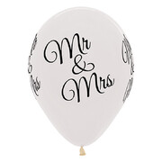 Mr & Mrs Crystal Clear 30cm Latex Balloons Pk 6