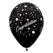 Metallic Black Congratulations 12in. Latex Balloons Pk 6