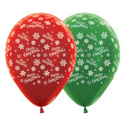 Assorted Merry Christmas Snowflake 30cm Latex Balloons Pk 10