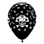 Black Pirate Themed 12in. Latex Balloons Pk 6