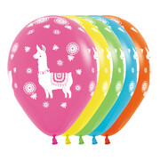 Assorted Mexican Llama Print 30cm Latex Balloons Pk 12
