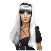 Halloween White & Black Long Bewitching Wig Pk 1